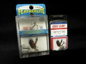 Lot Of 2 Tri-Fishing Hooks Eagle Claw Featherlite Bronze/Nickel Fin. Sizes 12&4