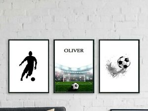 PERSONALISED SET OF 3 FOOTBALL WALL ART PRINTS POSTER  GIFT A4 BOYS ROOM
