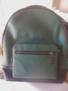 $595.00 Brand New Coach Black & Green Large Leather Backpack Bag F31274 NEW
