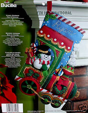 "Bucilla Candy Express Train ~ 18"" Felt Christmas Stocking Kit #86147, Snowman"