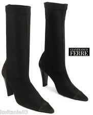 GIANFRANCO FERRE JEANS - BOTTINES TALONS 9.5 CM CUIR & STRETCH 39 EXCELLENT ETAT