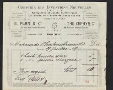 """PARIS (X°) COMPTOIR des INVENTIONS / AEROPLANE """"E. PLAN / THE ZEPHYR Co"""" en 1912"""