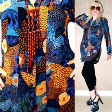 Vtg 80s FEATHERS Ethnic Southwestern BOHO Grunge Hi Low drape dress shirt tunic