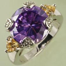 Wedding Band Round Cut Amethyst & Morganite Gemstone Silver Ring Size 6 Gifts