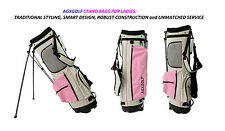 AGXGOLF LADIES PINK & GRAY EDITION FULL SIZE GOLF STAND BAG w/DUAL STRAP HARNESS