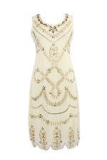 Beige Vintage 1920s Flapper Gatsby Downton Abbey Fringe Beaded Dress Size 8-24