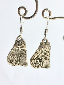 Stripy Cat Earrings Sterling Silver Hooks & S/Plated Charm