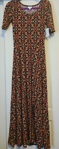 NWT LuLaRoe S Small ANA Dress Solid Black Orange Red Teal Floral NEW