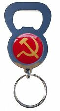 RUSSIAN HAMMER AND SICKLE BEER DRINK BOTTLE CAP OPENER CHROME KEYRING