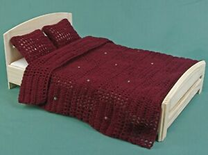 Bed linen set for 12 inch doll, afghan blanket, Double bed dollhouse 1:6 scale