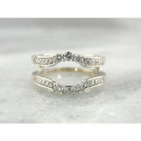 1.07 Ct Women's Diamond 14K White Gold Over Enhancer Wrap Guard Engagement Ring