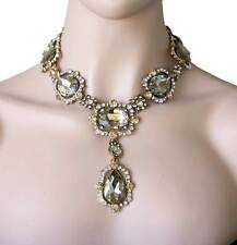 Statement Necklace, Light Brown, Nude Glass & Crystal, Pageant, Drag Queen,Bride