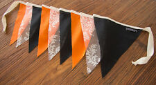 2m Handmade Bunting Flags Halloween Colours and Lace - Party Celebration Decor