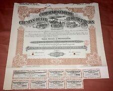 China Chinese 1920 Chemins Fer Tramways 250 Francs Bond Loan Share