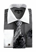New Men's French Cuff Striped Dress Shirt with Tie, Handkerchief, and Cufflinks