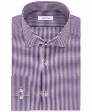 NWT $99 CALVIN KLEIN Men SLIM-FIT PURPLE WHITE CHECK BUTTON DRESS SHIRT 15 32/33