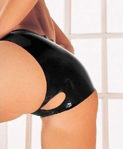 Latex Open Crotch Panties - Sharon Sloane BLACK Latex Originals BONUS Vibe