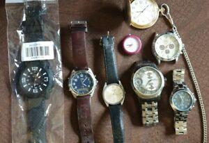 Konvolut 8 Uhren Armbanduhren , Timex, Seiko, Fossil,  Taschenuhr, aus Nachlass