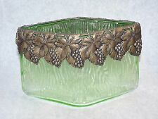 Art Nouveau Rippled Green Glass Vase Metal Bronze Mount Cap Uranium Grape Leaf