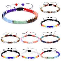 4MM Natural Gemstone Beads Chakra Healing Stretchy Bracelet Men Women Jewelry