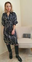 Zara New Black Print Satin Shirt Dress Size Xs 6 8
