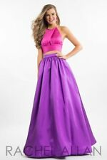 Sz 6 Rachel Allan 7513 Hot Pink Purple Two Piece Prom Gown High Neck A-Line NWT