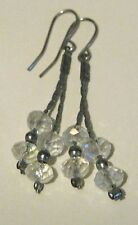 Great silver tone metal dangle earrings with small faceted clear beads