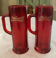 2 Budweiser Shot Glasses/Tasting Glass Red With Handle