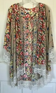 Umgee Floral Kimono Chiffon Cardigan, Lace Crochet Trim, Sz Small/Medium, Lg?