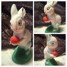 �Vintage Great Paper Mache` Easter Bunny Holding an Egg Decorations Germany🥚A+