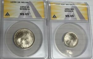 1950 Somalia Coin Set ANACS MS65 1 Sonia And 50 Cents Both Super Gems