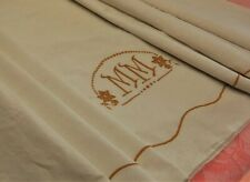 Vintage French Linen Sheet Cream Color MM Monogram Embroidery BARELY USED 76x128