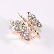 New 3D Double Layer Wings Butterfly Clear Crystal Hair Clip Claw CC6