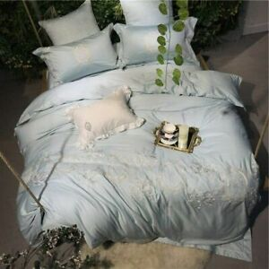 Egyptian Cotton Bedding Set Lace Embroidery Duvet Cover Bed Set Bed Sheet Set