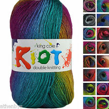 King Cole Riot DK 100g Acrylic Wool Blend Multi Coloured Knitting Yarn