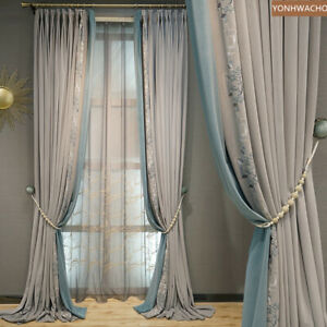 simple Light grey embroidered velvet cloth blackout curtain tulle panel C320