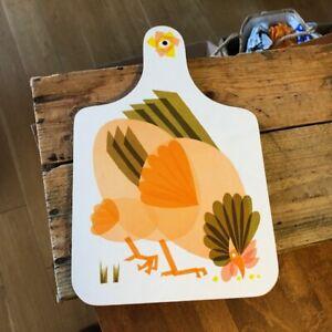 Vintage Melamine Chopping / Bread Board – Orange Chicken / Hen – Retro! –