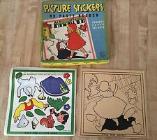 Vintage Whitman Nursery Rhymes No Paste Paper Cut Out Picture Stickers Set NEW