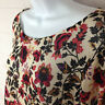 Divided by H&M womens size M stretch beige red floral scoop neck long sleeve top