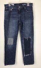 GAP Women Sexy Boyfriend Jeans Size 26R Patchwork Medium Wash Fade Destroyed