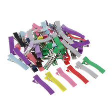 50Pcs Double Prong Alligator Clips Grossgrain Covered DIY Hair Accessories
