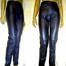 Lederhose 35 AQTH Lederjeans 1A Lammnappa Röhre Jeans Schwarz 36 S