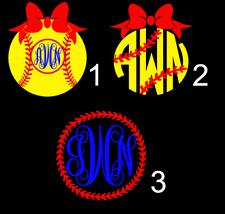 Personalized Monogram Vinyl Decal 3x3 Softball B