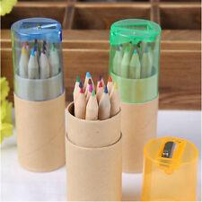 12X/SET Child Colored Art Sketch Drawing Pencil with Pencil Sharpener+Box Fun-TA