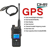 DMR GPS Funkgerät Retevis RT82 DualBand 136-174&400-480MHz Walkie Talkie+USB