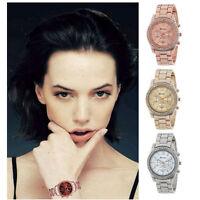 Women Fashion Crystals Watch Quartz Classic Round Ladies Metal  Wristwatches