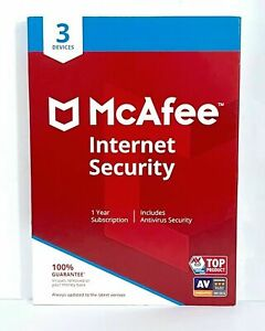 McAfee Internet Security For 3 Devices 1-Year Protection PC MAC Tablets