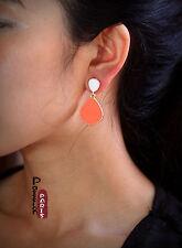 earrings Nails Art Deco Drop Irregular Coral White Vintage