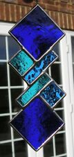 Stained Glass Blue Abstract / Geometric Panel /  Suncatcher, Handmade in England