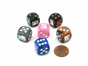 Pack of 6 Custom 16mm D6 Assorted Style Funny Meme Dice - Nope (Grumpy cat)